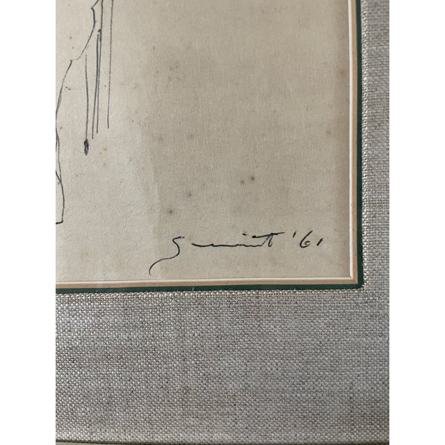 1960s 1961 Surrealist Style Abstract Graphite Drawing of a Horse by Walter Quirt, Framed For Sale - Image 5 of 9