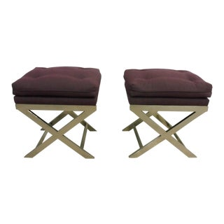 1970s Vintage Neoclassical Style Chromed Steel X Stretcher Benches - A Pair
