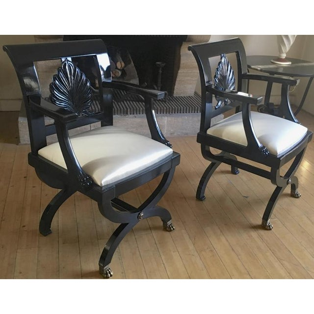 1920s Maison Jansen Chicest Black Neoclassic Exceptional Pair of Armchairs For Sale - Image 5 of 8