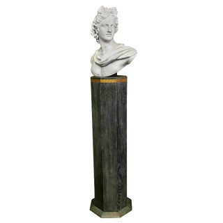 Italian White Marble Bust of Apollo Belvedere With Bauhaus Design Pedestal Base For Sale