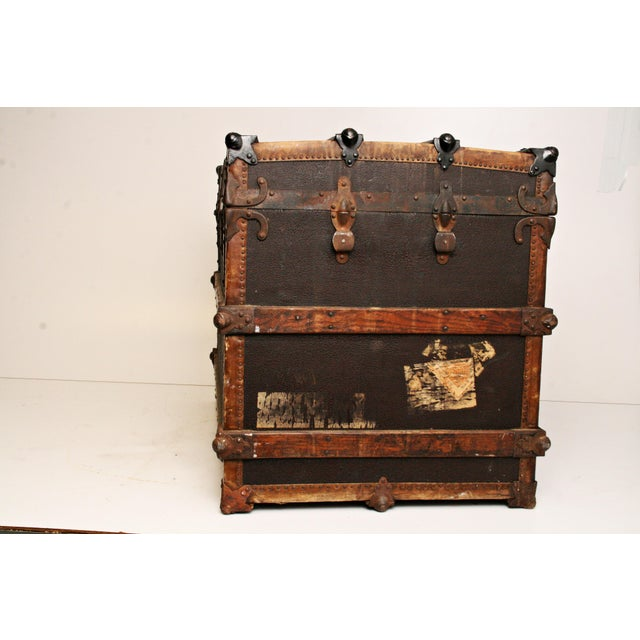 Antique Wood Steamer Trunk - Image 4 of 11