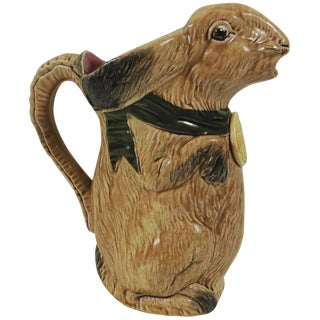 1900s French Majolica Rabbit Pitcher For Sale