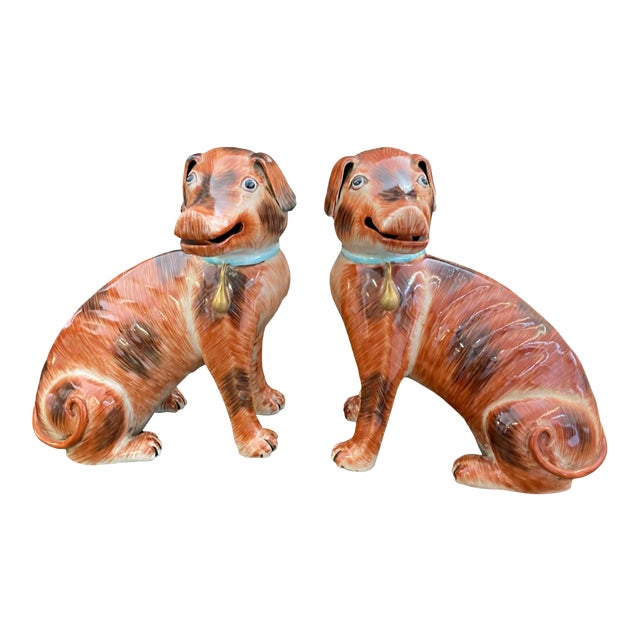 Antique Chinese Export Dogs - a Pair For Sale