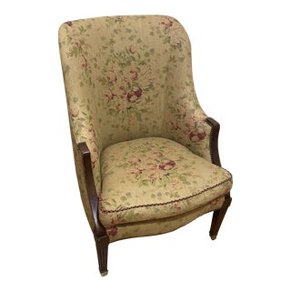 Lillian August Wood Frame Chair Floral Linen With Nail Trim For Sale