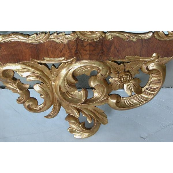 Late 19th Century A Curvaceous Danish Rococo Style Burl Walnut and Carved Giltwood Mirror with Exuberant Rocaille Carving For Sale - Image 5 of 5