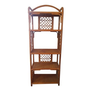 Vintage Boho Chic Bamboo & Rattan Etagere For Sale