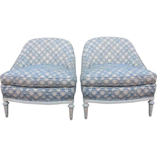 Wood Pair of French Fauteuils / Slipper Chairs For Sale - Image 7 of 7