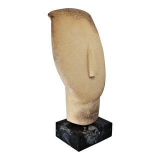 Vintage Greek Cycladic Ceramic Bust Sculpture With Black Marble Base For Sale