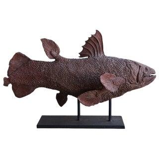 20th Century Italian Terra Cotta Clay Fish Statuette For Sale