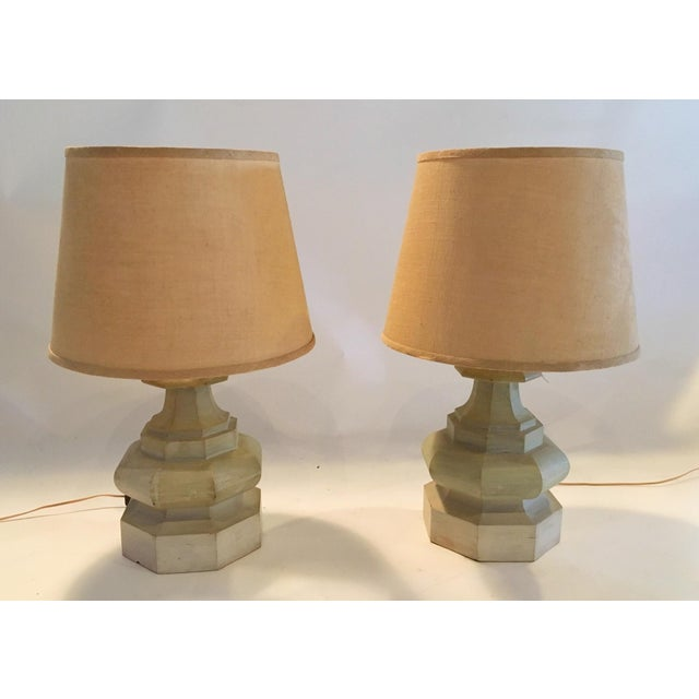 Mid-Century Carved Table Lamps - A Pair - Image 2 of 6