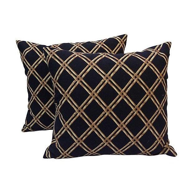 Black & Tan Bamboo Lattice Pillows - A Pair - Image 1 of 5