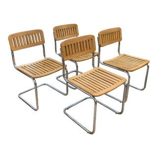 Set of 4 Wood and Chrome Cantilevered Dining Chairs For Sale