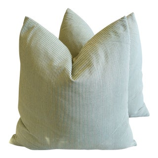 "French Green & Ivory Ticking Feather/Down Pillows 24"" Square - Pair For Sale"