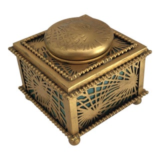 Antique Tiffany Gold Gilt Bronze Pine Needle Inkwell, Art Nouveau Style For Sale