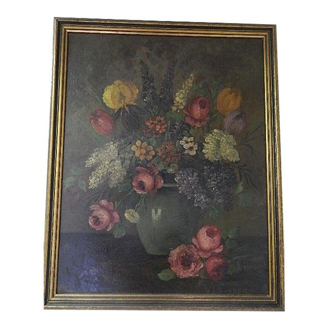 Still Life Flowers in a Vase, Signed H L Sanger For Sale