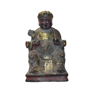 Vintage Chinese Wooden Carved Home Guardian Fortune Deity Figure For Sale