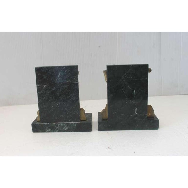 Early 20th Century Pair of Bronze Monkey and Green Marble Bookends For Sale - Image 5 of 11