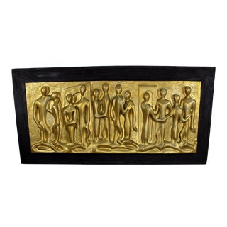 Mid-Century Modern Large Gold People Bas Relief Wood Frame Hanging Sculpture For Sale