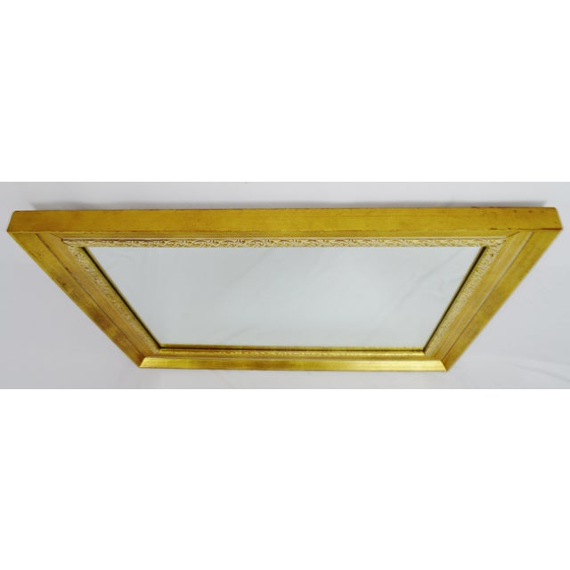 Modern Vintage Gold and White Striated Paint Framed Mirror For Sale - Image 3 of 10