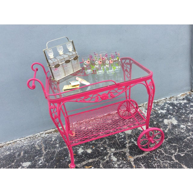 Pink Vintage Mid Century Patio Bar Cart For Sale - Image 8 of 9