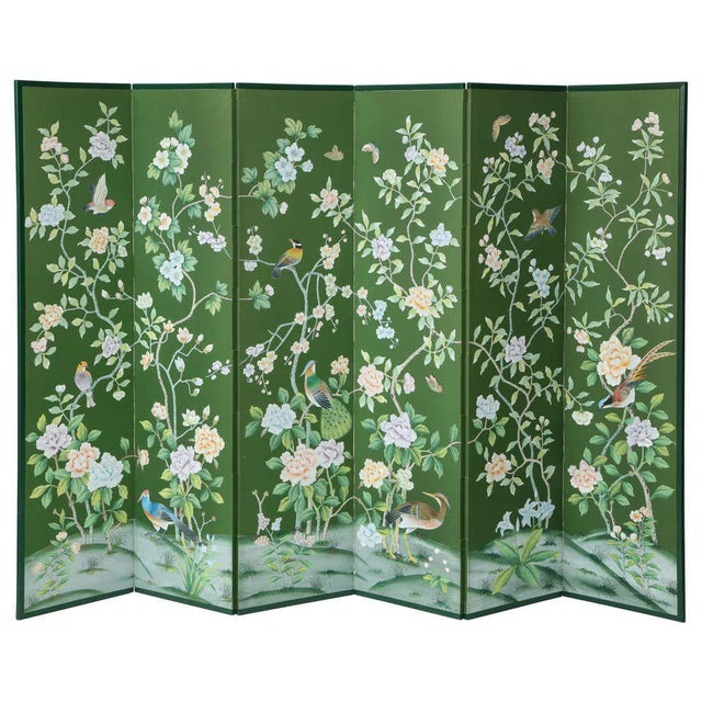 Green Chinoiserie Six-Panel Hand-Decorated Screen For Sale - Image 11 of 11