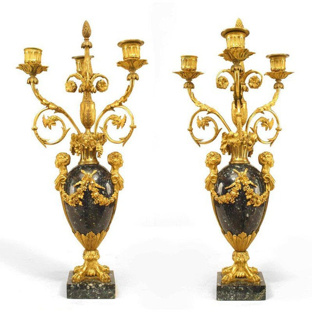 Marble Pair of 1879 French Ormolu-Trimmed Marble Candelabrum by Henry Dasson For Sale - Image 7 of 7