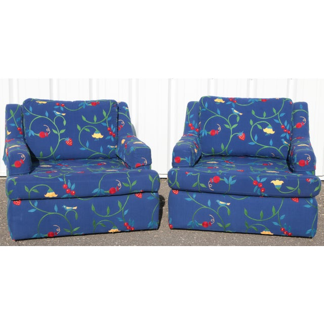 Crewel Embroidered Floral Strawberry Club Chairs - a Pair For Sale - Image 11 of 11