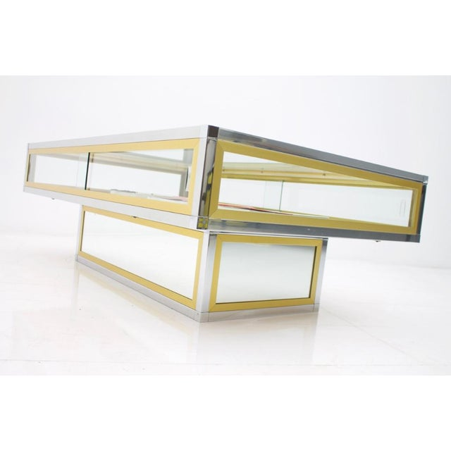 Vitrine Coffee Table in Chrome, Brass and Glass, France 1970s For Sale - Image 12 of 13