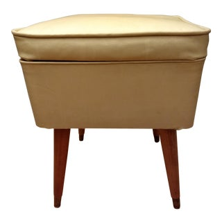 Vintage Mid-Century Modern Upholstered Hinged Sewing Seat Stool For Sale