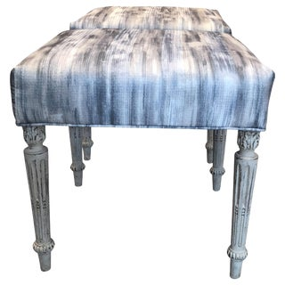 French Antique Upholstered Stools - a Pair For Sale