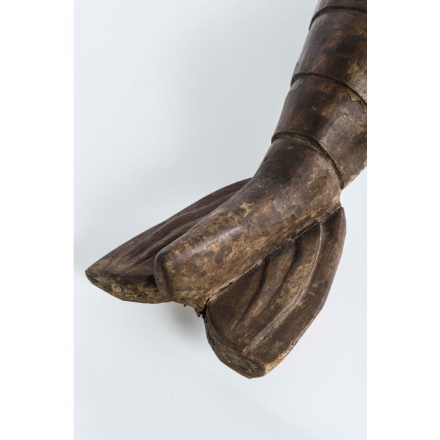 Figurative French Wood Carved Lobster Sculpture on Custom Made Iron Base 19th Century For Sale - Image 3 of 7