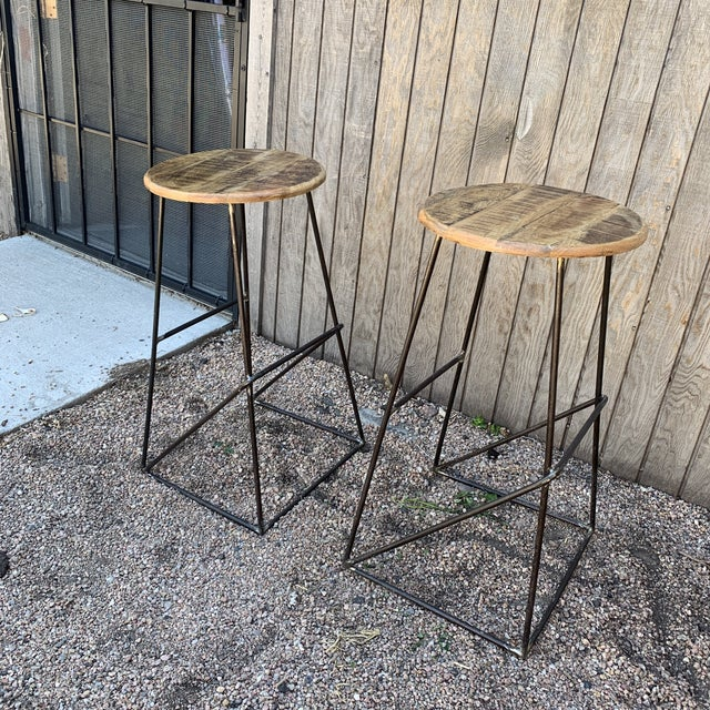 Modern Modern Kalalou Rustic Wood and Metal Bar Stools- a Pair For Sale - Image 3 of 13
