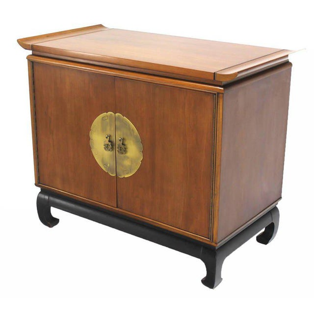1960s Oriental Modern Walnut Server Cabinet For Sale - Image 5 of 7