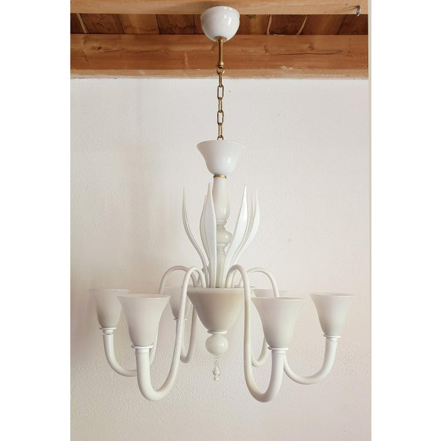 Large Mid-Century Modern 6 Lights Milk Murano Glass Chandelier by Venini For Sale - Image 10 of 11