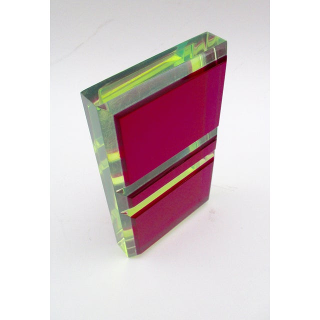 Green Vasa Velizar Mihich Style Lucite Paperweight Sculpture Block For Sale - Image 8 of 13