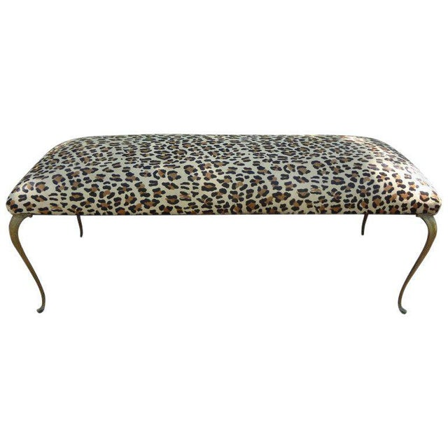 Metal 1960's Vintage Italian Gio Ponti Inspired Upholstered Leopard Print Hide Hair Bench For Sale - Image 7 of 8