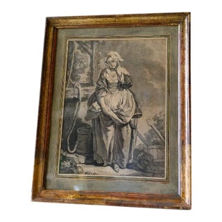 18th Century Framed Small Gravure of a Woman Portrait For Sale