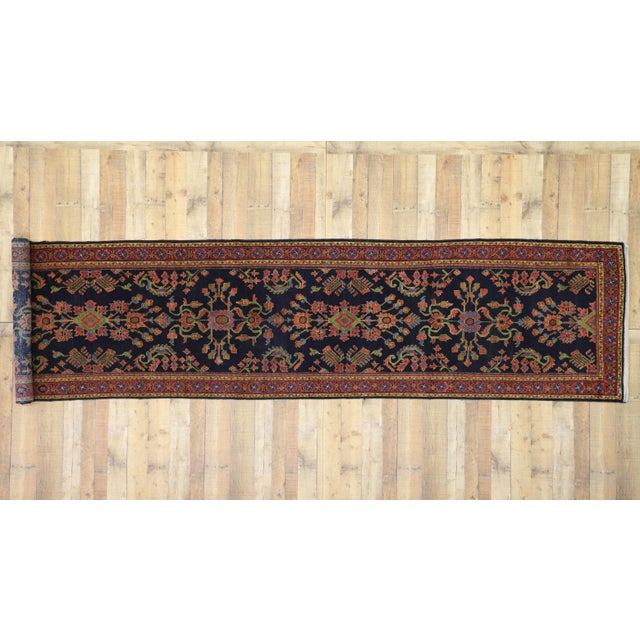 Antique Persian Malayer Rug Runner With Mina Khani - 3'5 X 16'4 For Sale In Dallas - Image 6 of 10