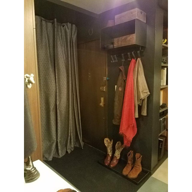 Blackened steel, wall mounted coat and hat rack. Once was sold at ABC Carpet. This item is extremely useful for hats,...
