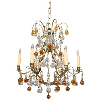 Italian Brass Chandelier With Clear and Amber Drops For Sale