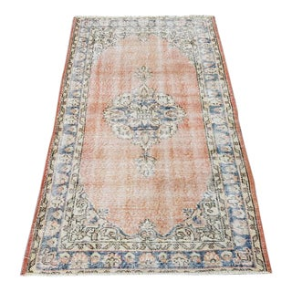 "1960s Vintage Turkish Distressed Oushak Rug-3'2'x5'2"" For Sale"