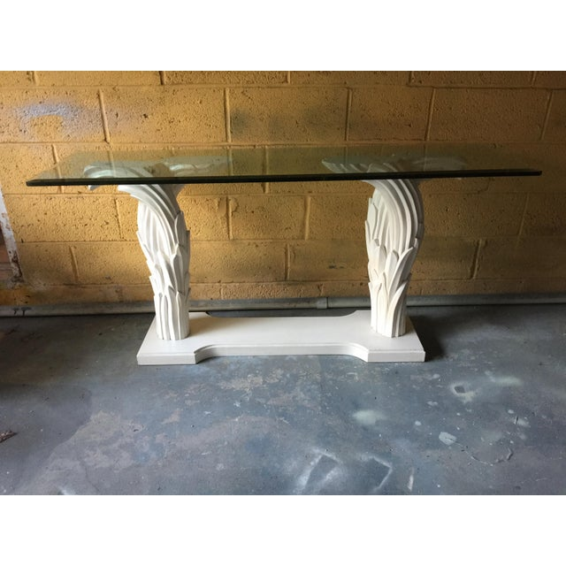 1980s Hollywood Regency Palm Leaf Console Table For Sale - Image 12 of 13