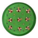 Image of 1960s Large Vintage Hand Painted Floral - Green Metal Serving Tray - Decor For Sale