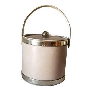 Mid-Century Modern Vinyl Ice Bucket With Lid Tan With Gold Tone Trim For Sale