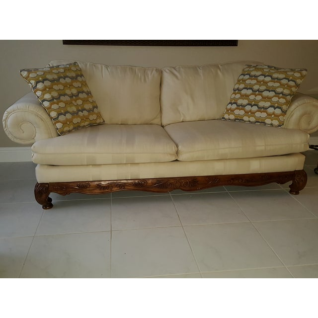 Classic Scroll Arm Ivory Sofa - Image 2 of 4