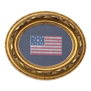 Rare Framed Antique 13 Star Centennial Parade Flag For Sale