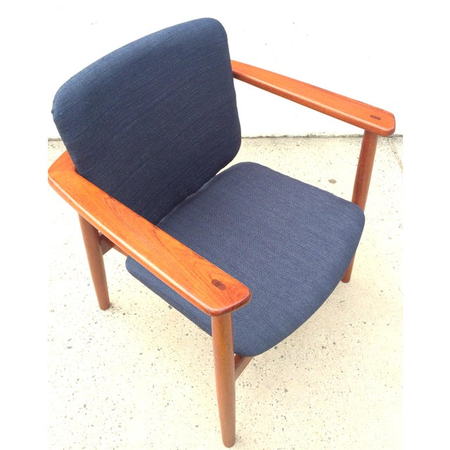 Blue Danish Modern Børge Mogensen Lænestol Armchair in Blue For Sale - Image 8 of 10