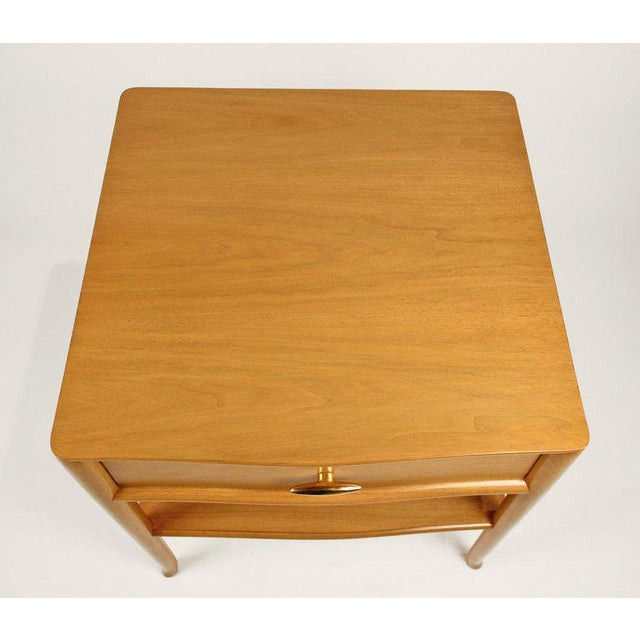 T.H. Robsjohn Gibbings for Widdicomb Bleached Walnut Nightstands - A Pair For Sale - Image 9 of 12