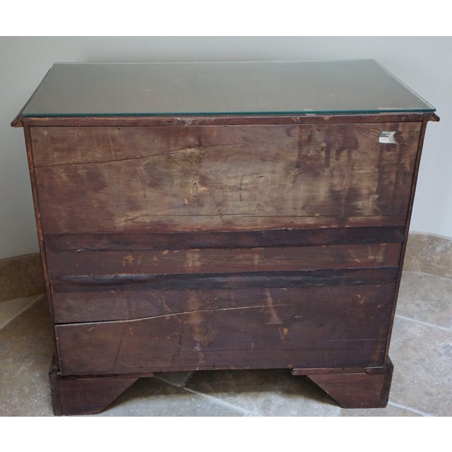 Brown Small Antique English Burlwood Veneer Chest For Sale - Image 8 of 10