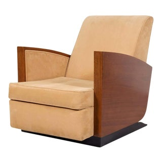 1930s French Art Deco Period Walnut Armchair or Lounge Chair For Sale